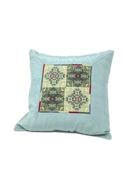 Hand-embroidered Square Pillow Cover (Turquoise and green)