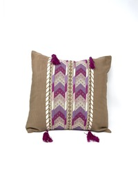 Hand-embroidered Square Pillow Cover (Pink)