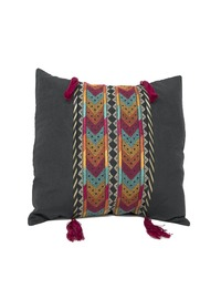 Hand-embroidered Square Pillow Cover (Black)