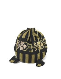 Hand-sewn Drawstring Purse (Black and Gold)