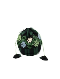 Hand-sewn Drawstring Purse (Black and Green)