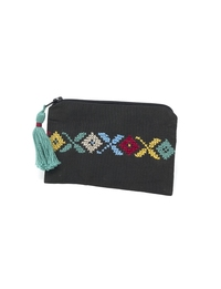 Hand-embroidered Change Purse (Black base, multicolor detailing)