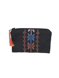 Hand-embroidered Change Purse (Black base, orange & blue detailing)