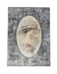 Decoupage &Woman with Hat& Wall Hanging