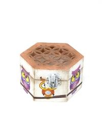 Lattice-work Jewlery Box with Colorful Owls
