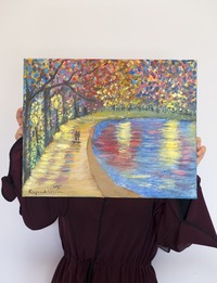Lakeside Walkway (Oil on Canvas)