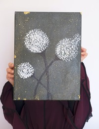 لوحة زيتية للزهور (متعدد الألوان)