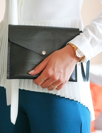 Leather Clutch Bag: Black
