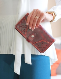 Leather Wallet: Red