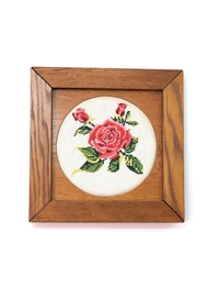 Hand-Embroidered Wall Frame - Rose