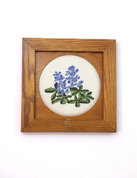 Hand-Embroidered Wall Frame - Blue Flowers