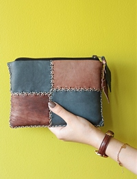 Hand made leather case - Blue and brown patchwork