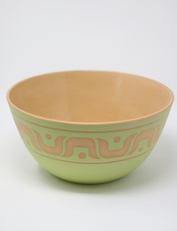 Large Serving Bowl: Beige and Green