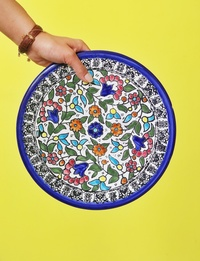 Floral Ceramic Plate: Multicolor