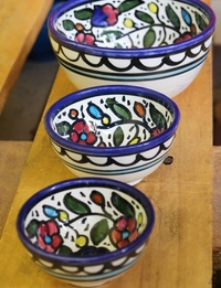 Floral Ceramic Bowl Set: Multicolor