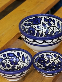 Floral Ceramic Bowl Set: Blue