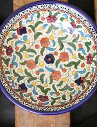 Floral Ceramic Serving Plate: Multicolor
