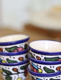 Floral Ceramic Cup Set: Multicolor