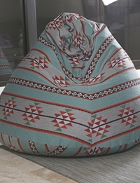 Medium Boho Bean Bag: Blue