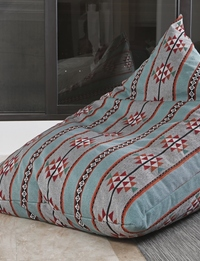 Large Boho Bean Bag: Blue