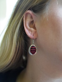 Embroidered Teardrop Earrings: Red and Black