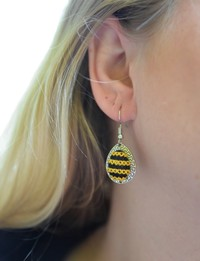 Embroidered Teardrop Earrings: Yellow and Black