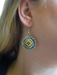 Embroidered Floral Earrings: Yellow and Lavender