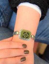 Embroidered Cuff Bracelet: Green