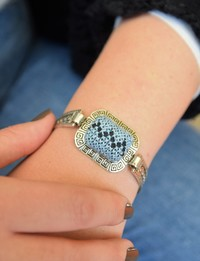 Embroidered Cuff Bracelet: Blue