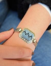 Embroidered Cuff Bracelet: Blue