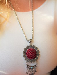Embroidered Floral Necklace: Red and Black
