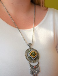 Large Embroidered Necklace: Lavender, Green, and Yellow