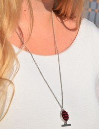 Embroidered Teardrop Necklace: Red and Black