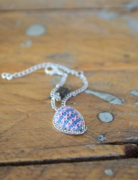 Embroidered Teardrop Bracelet: Pink and Blue