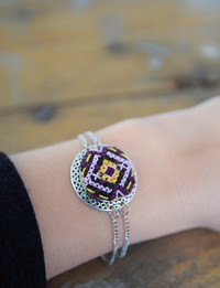 Embroidered Circular Bracelet: Purple and Yellow