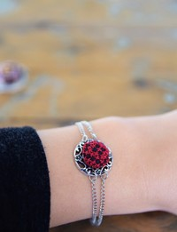 Embroidered Circular Bracelet: Red and Black