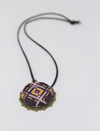 Embroidered Circular Necklace: Purple and Yellow
