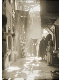 Shafts of sunlight through the awnings, Market, Nejaf, Iraq.1932
