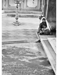 Girl in Mosaic Church of St George, Madaba. 1920s.