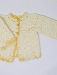جاكيت كروشيه أصفر (9 - 12 شهر)