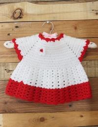فستان كروشيه - أحمر و أبيض (0 - 3 أشهر)
