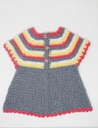 فستان كروشيه ملون ( 6 - 9 أشهر)