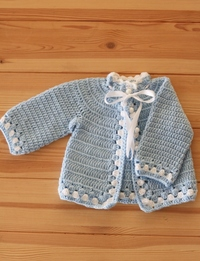 Traditional Crochet Baby Sweater: Light Blue (Size 0-3 Months)