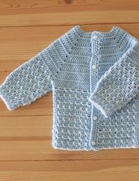 Crochet Baby Sweater: Light Blue (Size 0-3 Months)