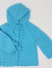 جاكيت كروشيه أزرق ( 12 - 18 أشهر)