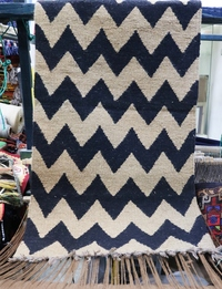 Chevron Rug: Beige and Black