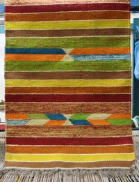 Horizontal-Striped Rug: Green Multicolor