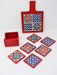 Red Table Set: Floral