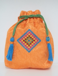 Orange Embroidered Coin Purse (Large)