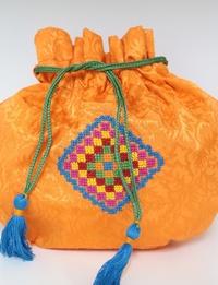 Orange Embroidered Coin Purse (Medium)